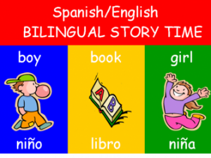 Bilingual Story Time on Monday nights at 6:30 p.m.